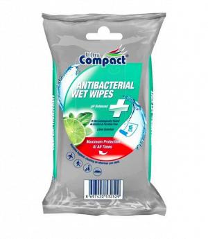 Servetele Umede Antibacteriene 🚫🦠 pentru Maini, Dezinfectante, Ultra Compact, 15 buc/set, fara Alcool sau Parabeni, Lime 🍋